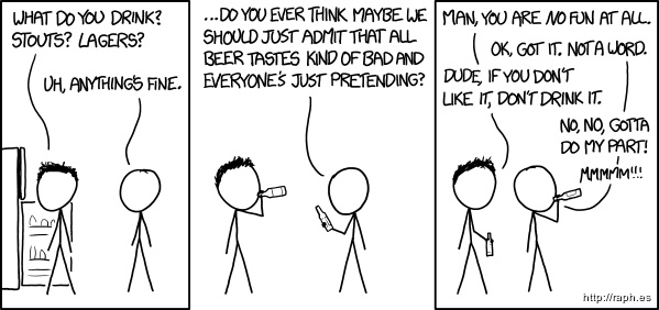 Comic figure gets peer-pressured into enjoying beer.